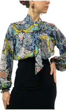 Printed CARMEN Crepe Leotard-Shirt
