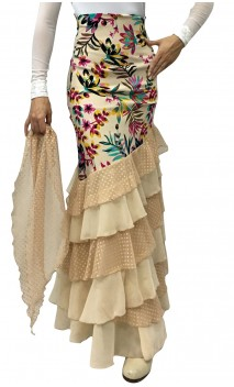 Bengal Garden Long-skirt 6 Ruffles w/Scarf