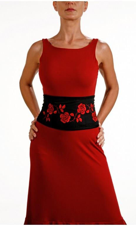 Cinturón GABI Negro con Rojo