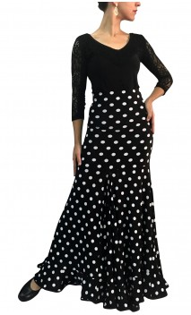 Virna Polka-Dots Long-Skirt Extra Godet
