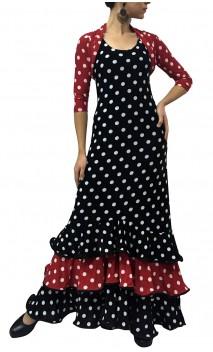 Mirta Polka-dots Long-Dress 3 Ruffles & Bolero Set