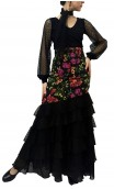 Bengal Tulle Long-skirt 6 Ruffles w/Scarf