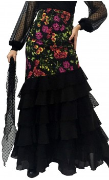 Falda Bengal Tul 6 Volantes c/Pañuelo