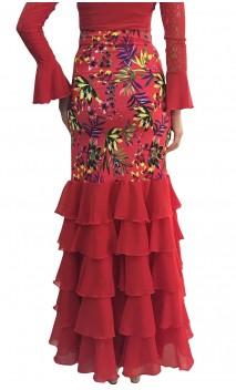 Printed Thereza Long-skirt 5 Ruffles w/ Scarf