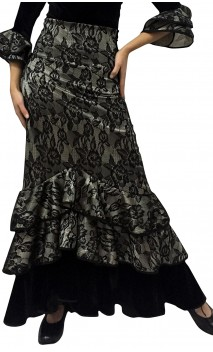 Narcisa Collin Lace and Velvet Long-Skirt