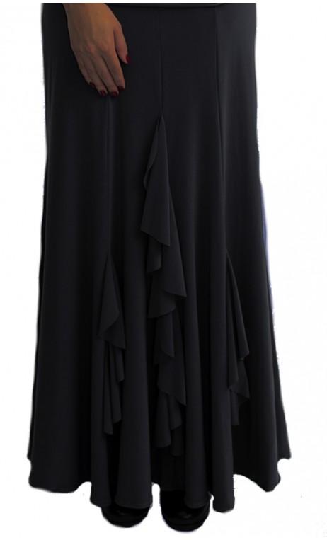 Black Rosario Long-Skirt with Vertical Ruffles