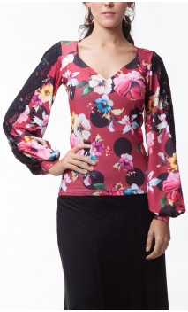 Long Sleeves Sofia Blouse w/ Lace Detail