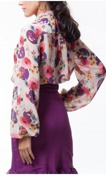 Camisa Carmela Crepe Tipo Malla Floral