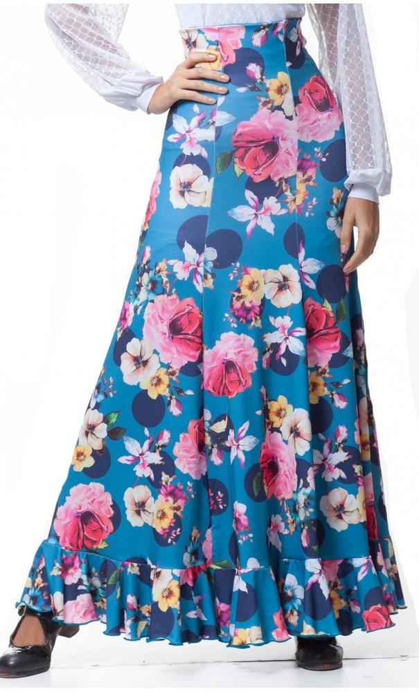 210460f48 Flamenco Falda Godet Floral Guadalupe