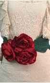 Satin belt w/3 flowers