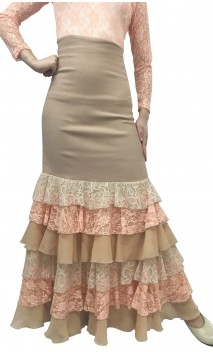 Kari Long-skirt w/Chiffon & Lace Ruffles