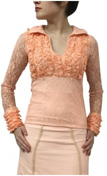 Crystal Lace Long Slevees Top