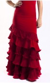 RED Lace Cádiz 6 Ruffles Long-Skirt