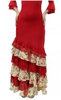 Long-skirt Leonor 6 Ruffles w/ Chiffon and Lace