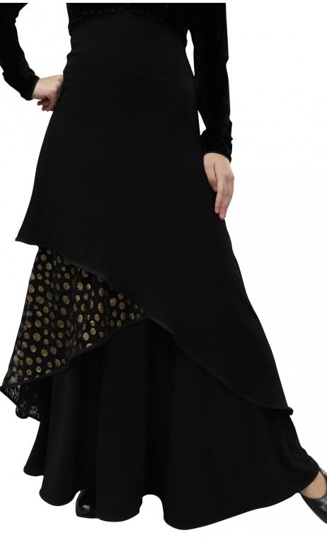 Veruska Long-Skirt w/Polka-dots Lace