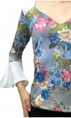 3/4 Sleeves Printed Lace Blouse