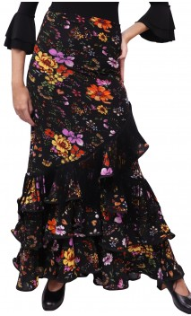 Printed Nina Collin Long-Skirt w/Fringe