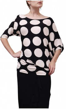 Milene Asymmetrical Blouse w/ Large Polka-Dots