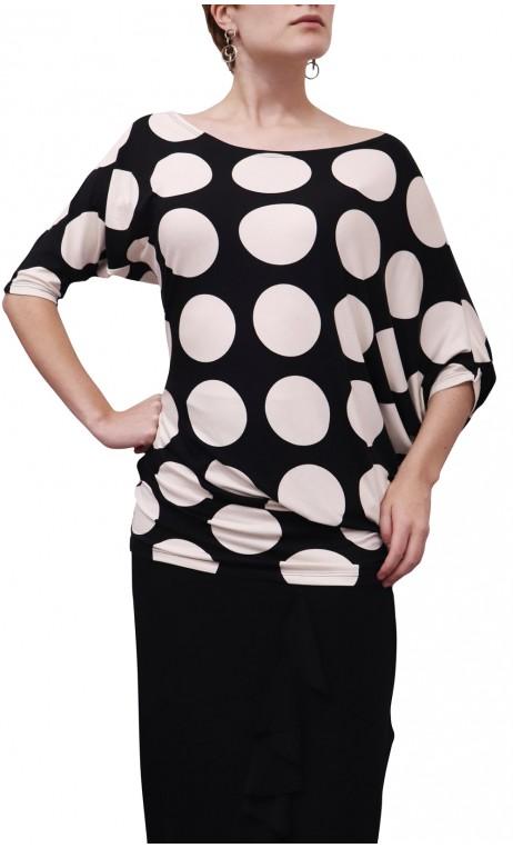 Milene Asymmetrical Blouse w/ Large Polka-Dots