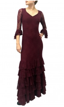 Candida Lace 3/4 Sleeves Long-Dress 5 Ruffles