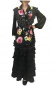 Xale Floral c/babado de bolinhas