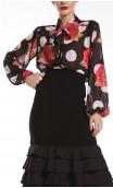 Polka-dots and Flowers Naju Crepe Leotard-Shirt