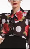 Camisa-Colant Naju Chiffon Bolas e Flores