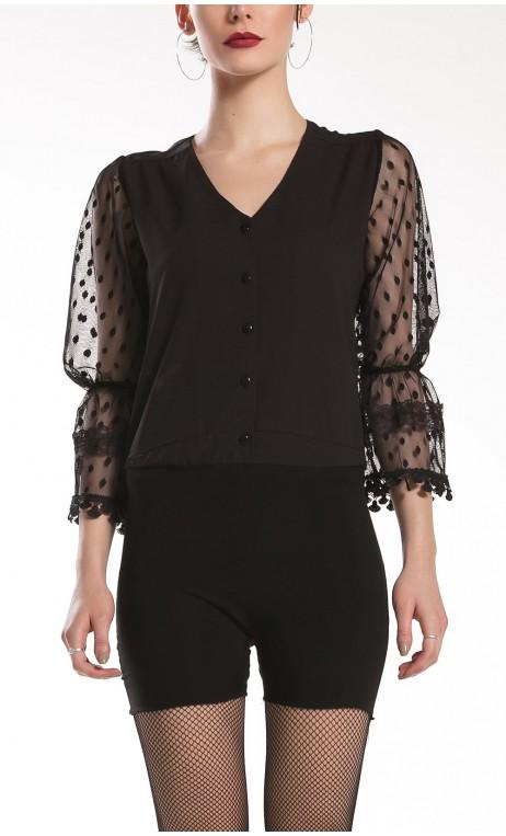 Joan Puffy Sleeves Leotard-Shirt
