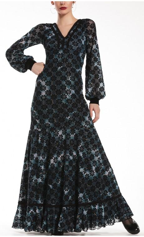 Printed Tulle Carlota Long-Dress