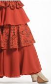 Samira 4 Ruffles Long-Skirt w/Lace