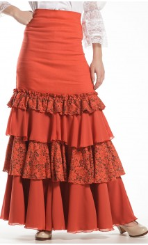 Samira 4 Ruffles Long-Skirt w/Lace