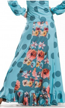 Cobalt Green Floral Guadalupe Long-Skirt