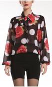 Camisa Naju Crepe Tipo Malla Lunares y Flores