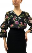 Floral Puffy Sleeves Leotard-Shirt