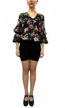 Floral Puffy Sleeves Leotard-Shirt