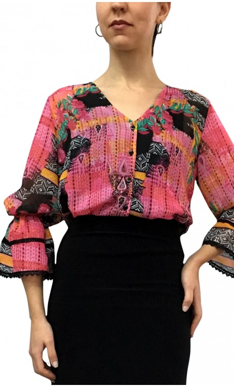 Arabesque Puffy Sleeves Leotard-Shirt
