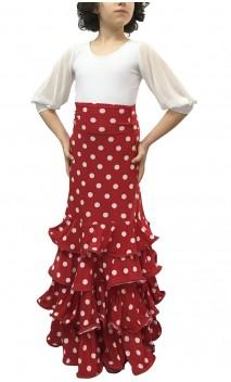 Polka-dots Luiza 4 Ruffles Girls Long-skirt