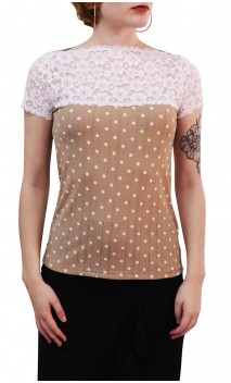 Marilyn Polka-dots Blouse w/ Lace