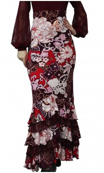 Printed Anne Collin Long-Skirt w/ Lace