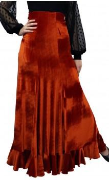 Fuschia Guadalupe Velvet Long-Skirt