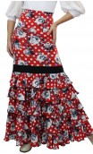 Printed Carmencita 5 Ruffles Long-Skirt
