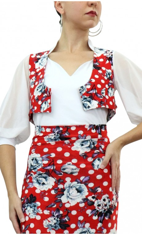 Polka-dots Printed Mini-Vest