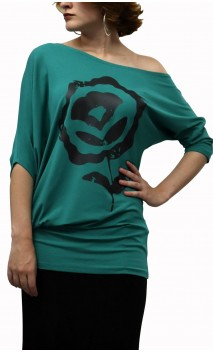 Milene Asymmetrical Blouse w/Flower