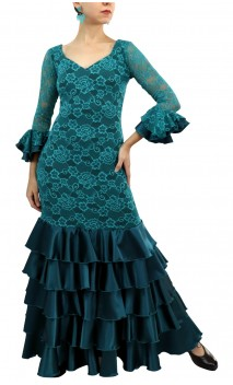 Vestido Flamenco Rendado Acqua 5 Babados
