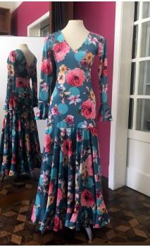 Green Floral Godet Long Dress