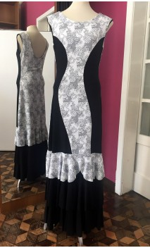Black & White Long-Dress 3 Ruffles