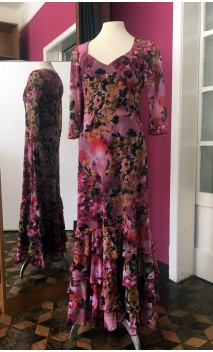 Rose Floral Long-Dress 4 Ruffles