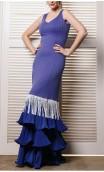 Blue Long-Dress w/Fringe