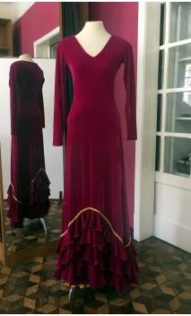 Vestido Pink de Veludo c/ Anágua Amarela