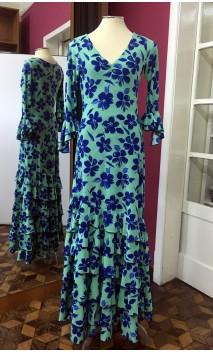 Vestido Verde c/Flores Azules 6 Volantes